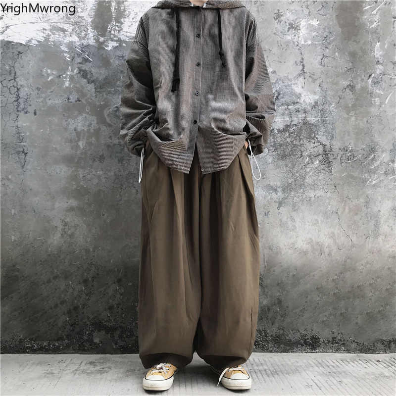 Camo siyah kore Harajuku kargo geniş gevşek Hip Hop Baggy Harem Jogger yüksek bel pantolon Streetwear erkek kadın pantolon eşofman