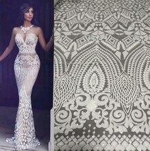 Tela de encaje africano blanco, encaje de alta calidad con lentejuelas, telas de encaje nigeriano francés dorado para Vs lj893 de boda, 2020