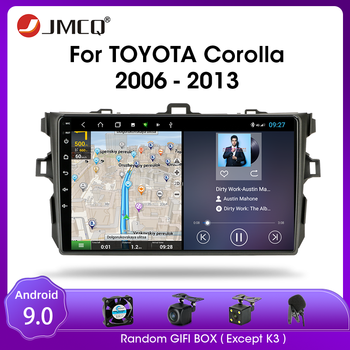 JMCQ Android 9.0 Car Radio for Toyota Corolla E140/150 2006-2013 Multimidia Video 2 din 4+64G RDS DSP GPS Navigaion Split Screen image
