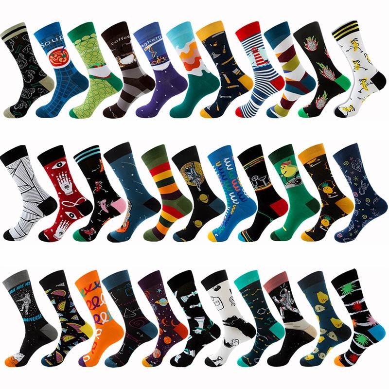 Hip Hop New Product Happy Socks Fashion Creative Trend Unisex Socks Harajuku Fruit Astronauts Cartoon Funny Men Women Socks