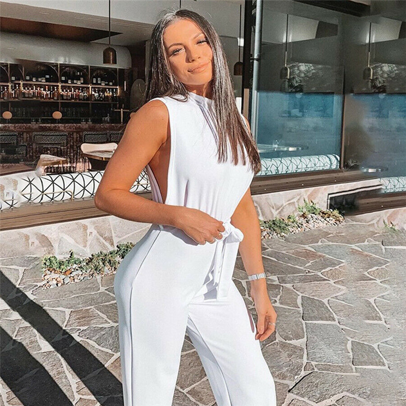 UK Sexy Solid Color Womens Jumpsuits Sleeveless Slim Jumpsuit Ladies Holiday Playsuit Summer Party Business
