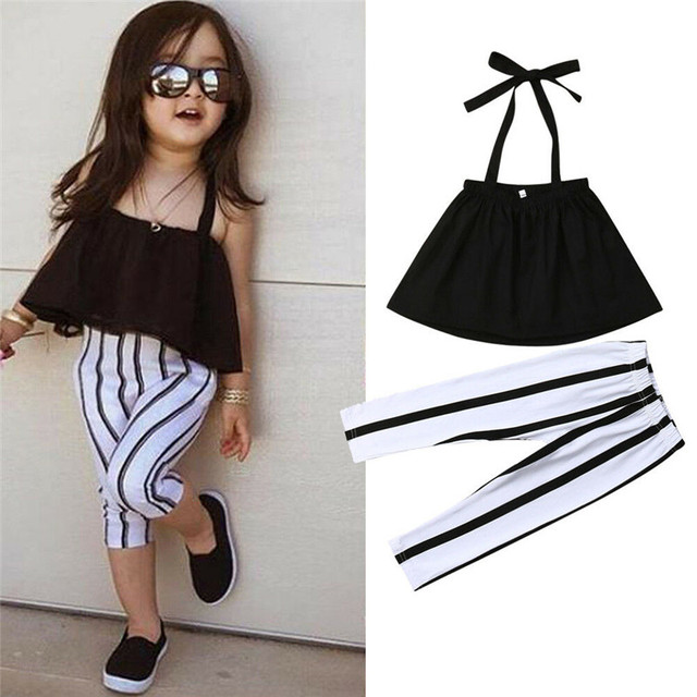 1-6T Fashion Summer Clothing Girl Strap Tops+Striped Pants Toddler Outfits Girls Clothes Sets