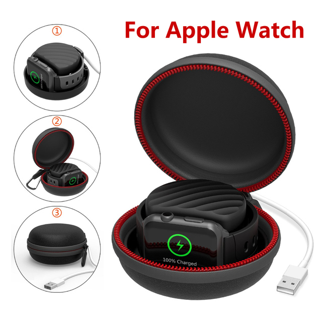 Travel Portable Charger Charging Holder Dock Storage Box for Apple Watch Series 5/4/3/2/1 Dustproof Zipper Case for Airpods 1 2