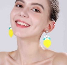 jewelry accessories simple and fresh girl heart fruit lemon earrings earring