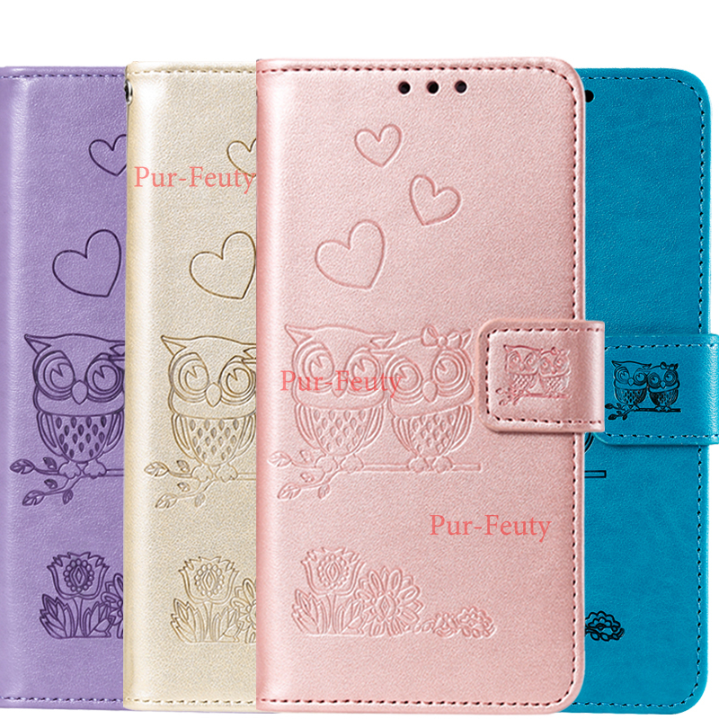 For Samsung Galaxy J4 J6 A6 Plus A7 2018 A50 A50S J7 J5 J3 2016 2017 J730FM J510FN Flip Cover Lovely 3D Owl Leather Wallet Case