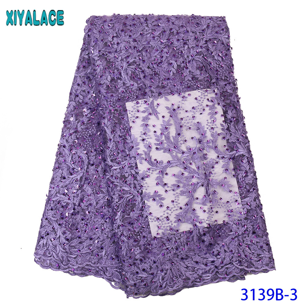 High Quality French Nigerian Laces Fabrics Tulle Lace Fabric African Embroidered Net Lace With Sequins KS3139B