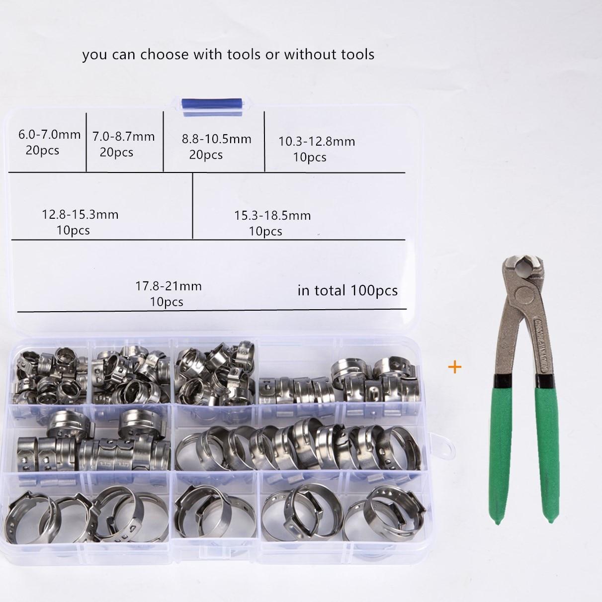 100 шт., зажимы для шланга 6-21 мм из нержавеющей стали 304