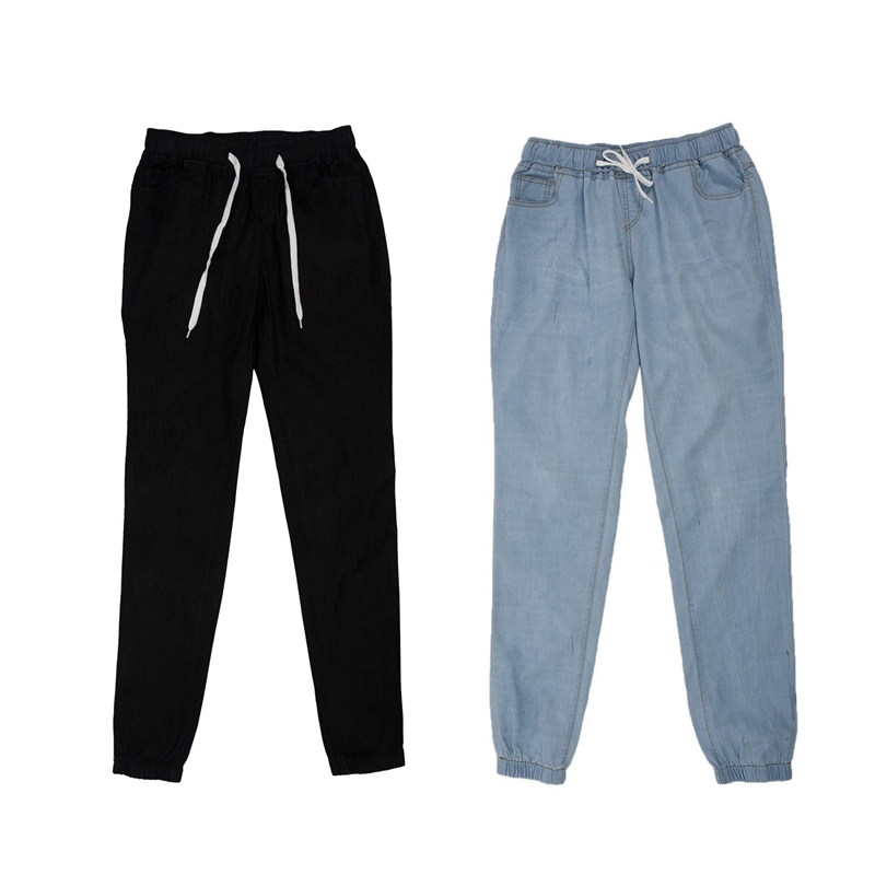 2 Pcs Women Casual Jogger Pants Drawstring Elastic Waisted Jeans Solid Ladies Denim Pants Slim Leggings Pants XXL, Light Blue &
