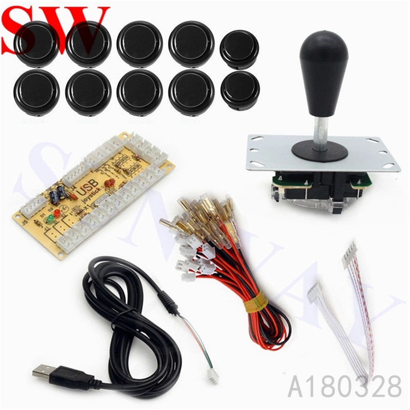 Black Arcade MAME DIY Kit USB Encoder Board with PC Joystick 5 Pin oval ball+ 10 Push Buttons For wood or metal control panels