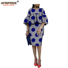 African ankara print skirt set for women AFRIPRIDE three quarter flare sleeves o-neck top+knee-length pencil A1826014