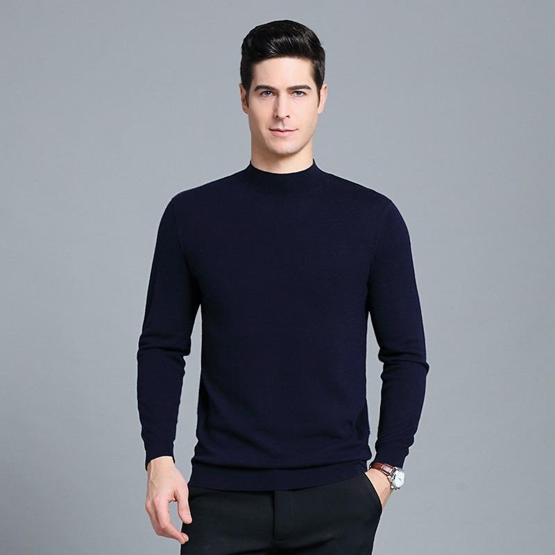 MACROSEA Autumn&Winter 100% Wool Men's Turtleneck Pullovers Sweater Male's Long Sleeves Sweaters Solid Pullovers Sweaters 1932