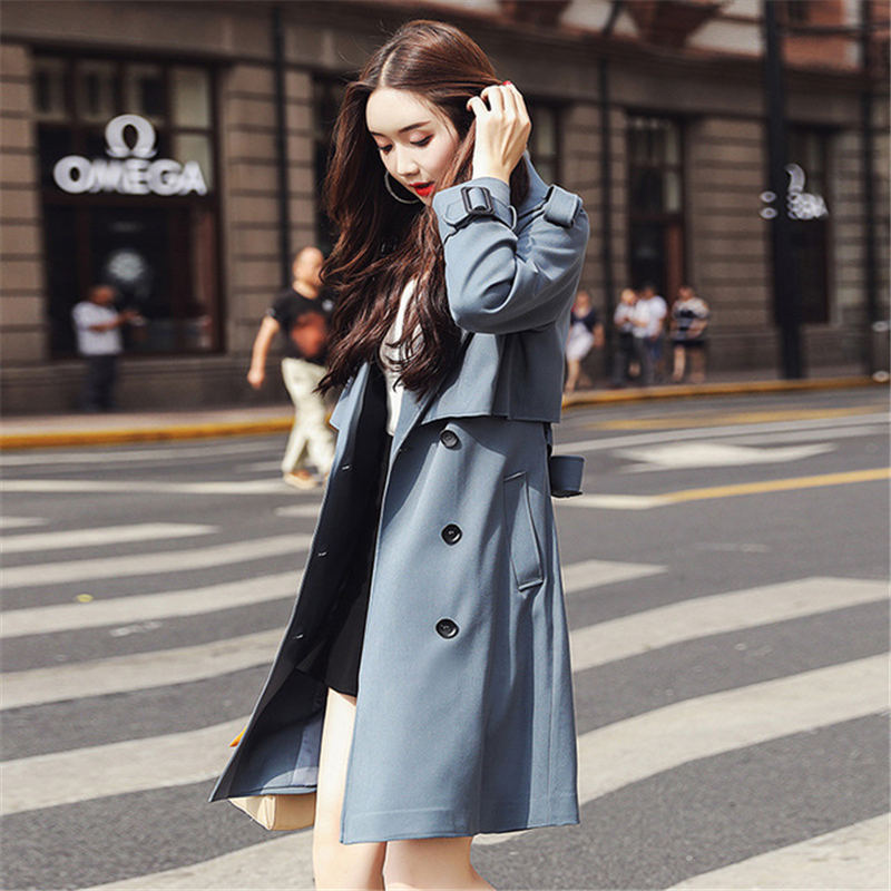 2020 NEW Spring Autumn   Trench   Coats For Women Outerwear Fashion Double-breasted Tie Blue Black Windbreaker Coat Overcoats XA129