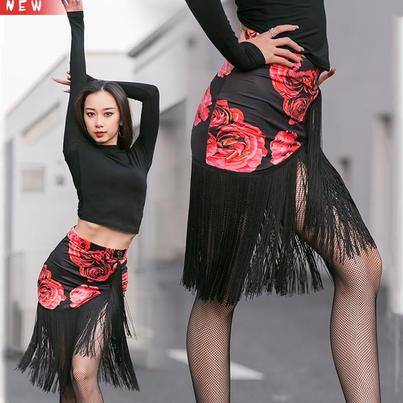 Latin Dance Skirt Rose Pattern Women Dance Costume Girl Fringe Skirt Rumba Performance Party Dance Wear Black Latin Skirt 3187