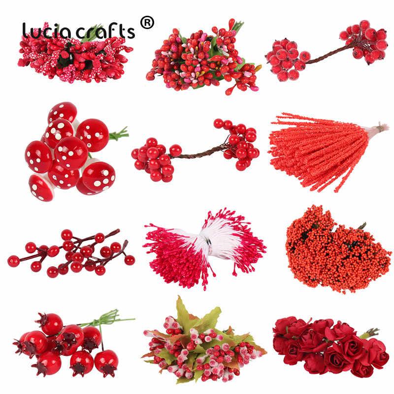 5/6/8/10/12/50/70/90 Pcs Dicampur Bunga Merah Cherry benang Sari Buah Bundel DIY Natal Kue Pernikahan Kotak Hadiah Karangan Bunga Dekorasi D0311