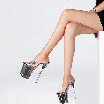 Flash powder Crystal Thin Slippers Big Size novelty Elegant 8 inches Sexy Fetish 20CM Super High heeled shoes Striped Fashion