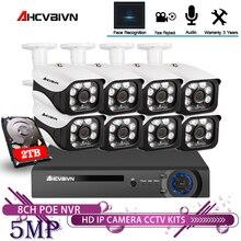 AHCVBIVN 8CH 5MP ไร้สาย NVR POE ระบบกล้องกลางแจ้ง IR CUT กล้องวงจรปิดการเฝ้าระวังวิดีโอเครื่องบันทึกวิดีโอชุดหน้าบันทึก