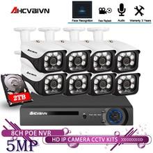 AHCVBIVN sistema de cámaras de seguridad POE NVR inalámbrico, 8 canales, 5MP, IR CUT al aire libre, vídeo CCTV, Kit de grabador de vídeo de vigilancia, registro facial