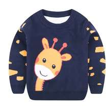 цена на Children Pullover Sweater Long Sleeve Round Neck Knit Sweaters Autumn Winter Warm Clothes for Boys Girls