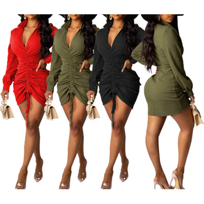 Puff Sleeve V-Neck Party Dresses Women Solid Red Sexy Autumn Winter Slim Hight Waist Elastic Ruched Elegant Mini Dress