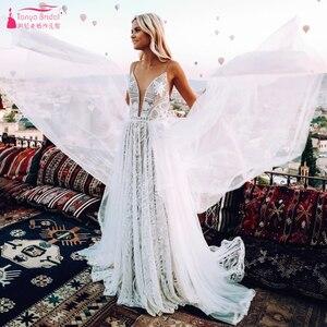 Image 3 - Dark Nude Lining Lace Wedding Dresses Modern Plunge V Neck Romantic Bridal Gowns Chic Vestido De Noivas ZW243