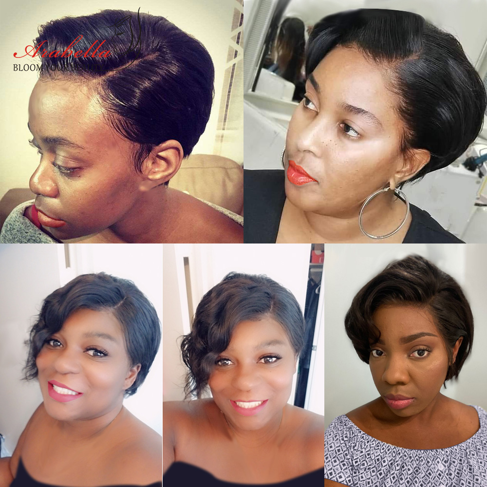 13x4 Pixie Cut Bob Wig Straight  Hair Lace Front Wig With Baby Hair Arabella Pre Plucked Lace Front Bob Wig 6