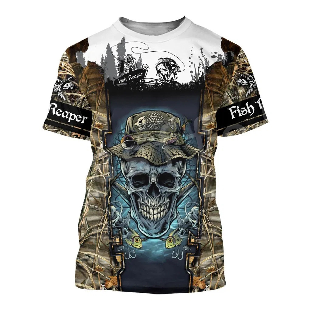 Tessffel New Fashion Animal Art Marlin Bass Hunting Fishing Hunter Camo Fisher 3DPrint Unisex T-shirt Short sleeve Men/Women s-1