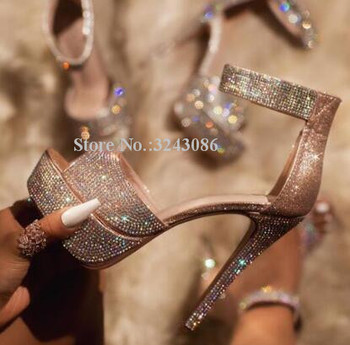 Women New Platform Crystal Sandals Fashion Peep Toe Ankle Buckle Stiletto Heel Gladiator Sandals Lady Real Photo Party High Heel фото