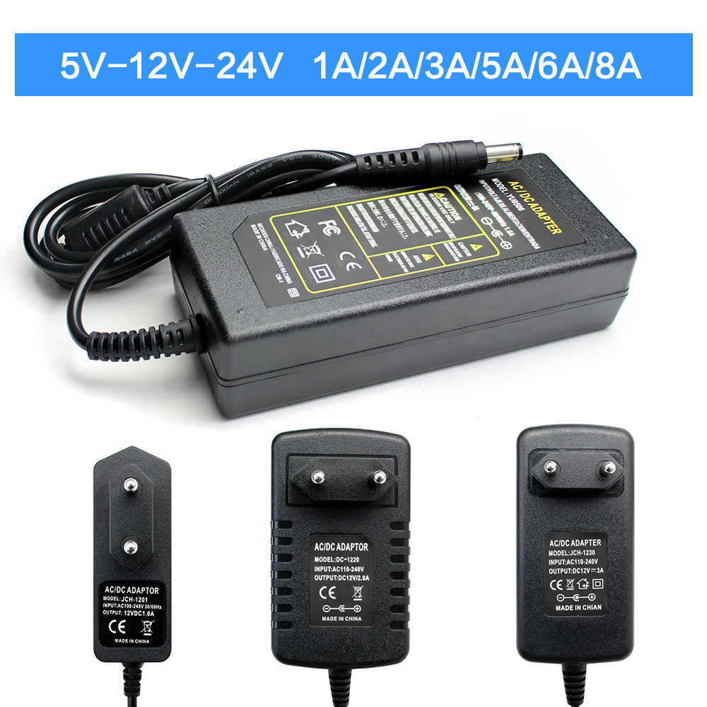 Universal 5V 9V 10V 12V 13V 15V 24V Power Adapter 1A 2A 3A 5A <font><b>6A</b></font> 8A AC <font><b>220V</b></font> To DC 12V 5V 24V Power Adapter For LED Strip Lamp image