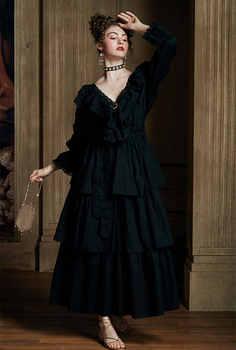 2020 Autumn Vintage Sleepwear Victorian Ruffed Women Home Wear Night Dress Long White Cotton Nightgown Retro Nightwear Robe T560