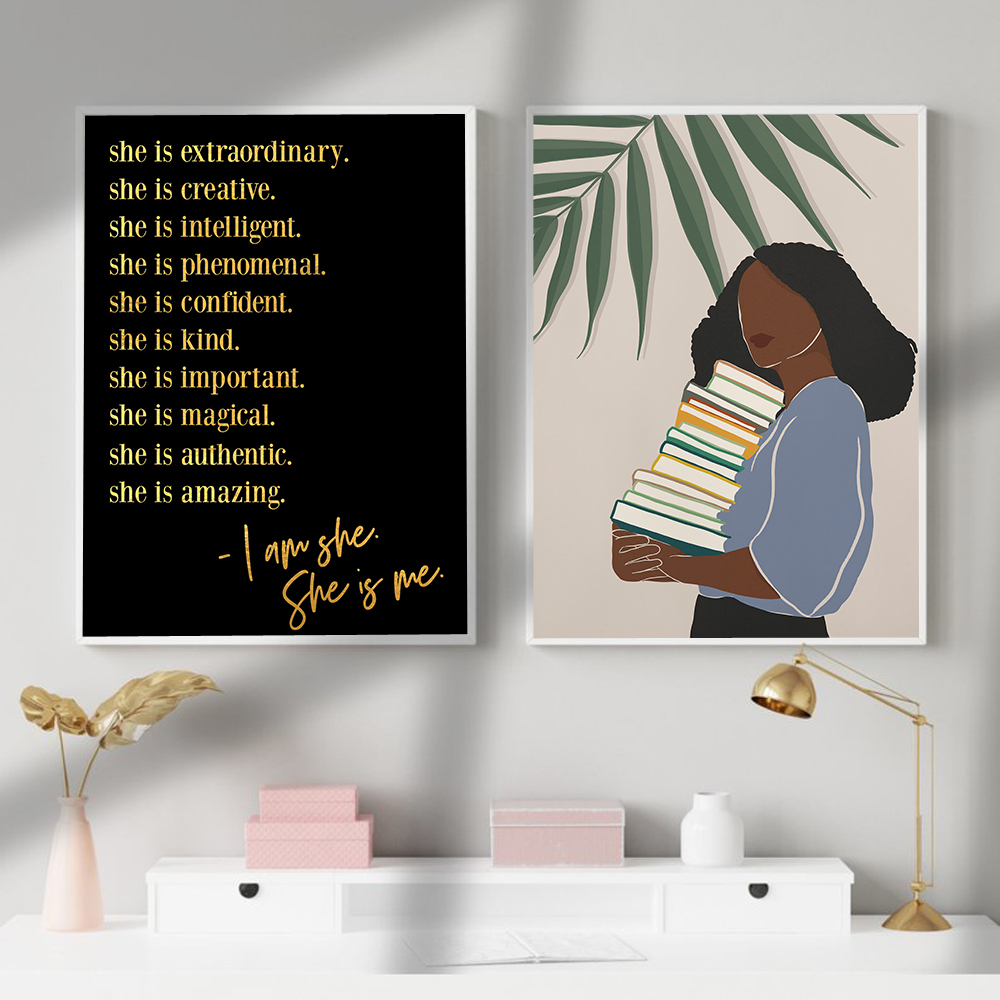 Black Excellence Golden Quotes Canvas Poster  Wall Art Print African Woman Painting Decorative Picture Home Living Room Decor