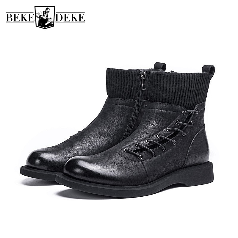 Winter Boots Men Fashion Zipper Motorcycle Ankle Boots Short Plush Warm 100% Real Leather Booties High Top Casual Man Footwear