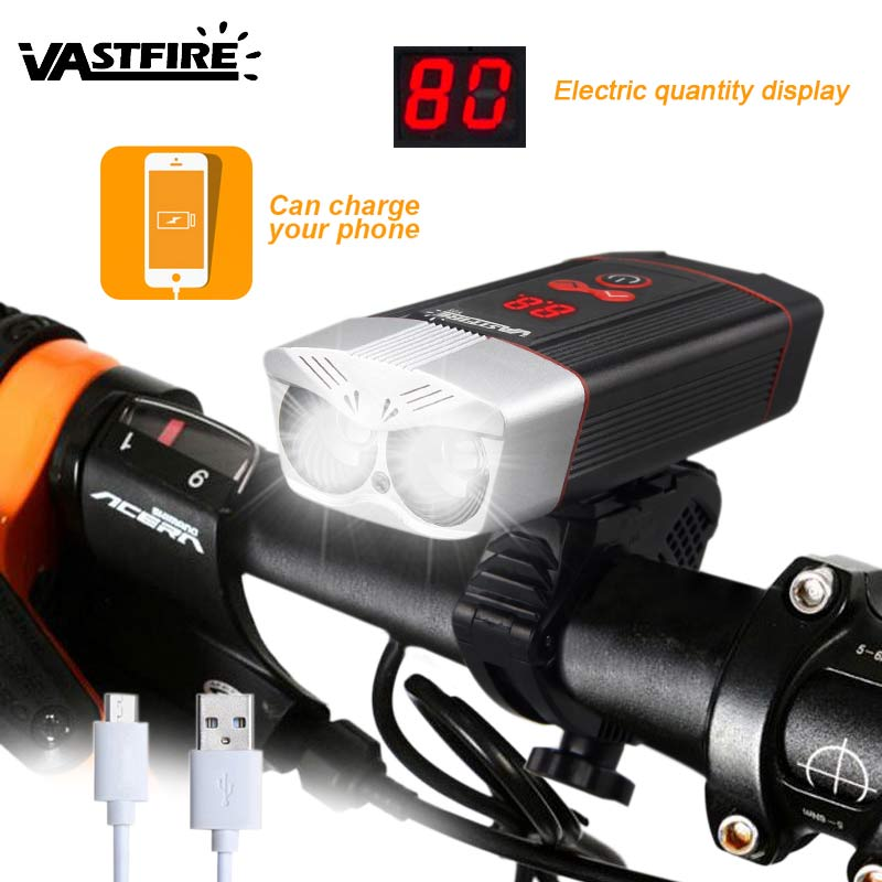 USB Rechargeable Bicycle Headlight+Taillight Kit 4000mAh Power Bank Portable