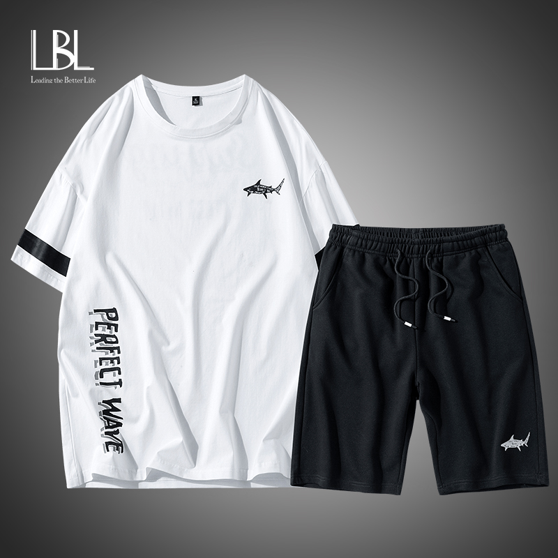 2020 Cotton T Shirts+Shorts Men Sets Brand Clothing Two Pieces Suit Summer Tracksuit Fashion Casual Tshirts Workout Fitness Sets