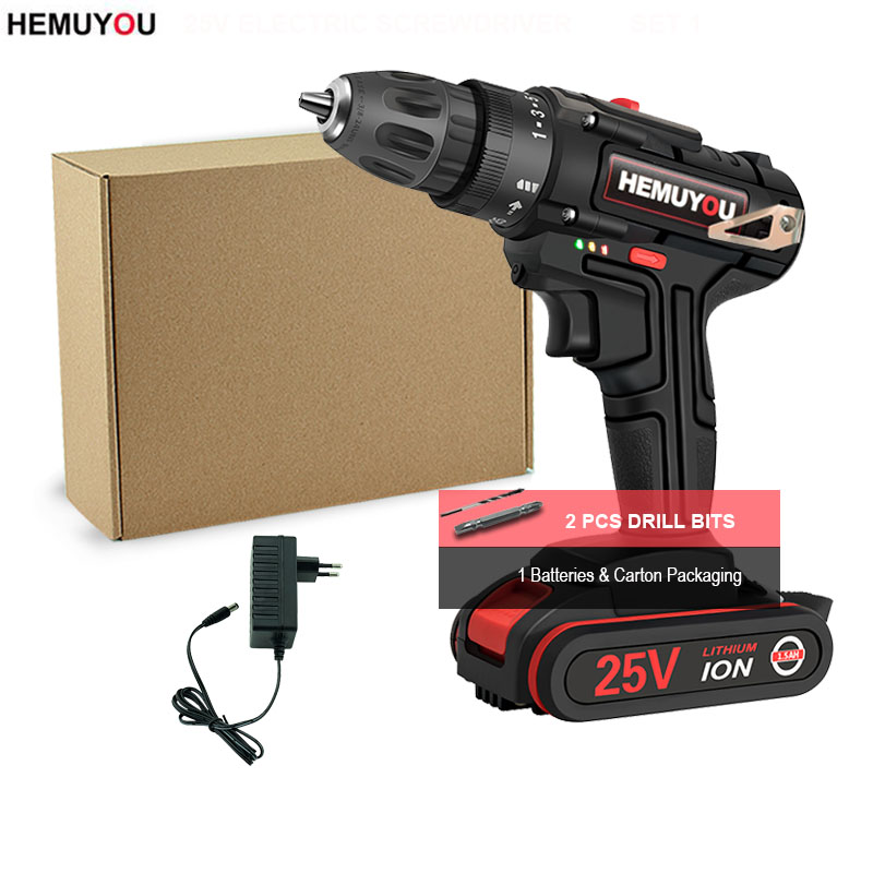 25V Screwdriver Electric Drill Home Cordless Electric Screwdriver Set of drills Power Tools Variable Speed Power Drill