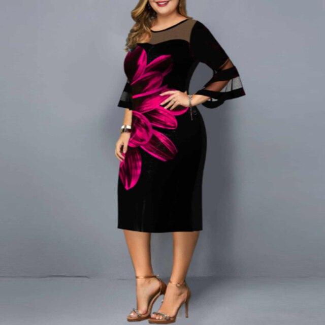 floral dress mesh neck and sleeves knee hi 2
