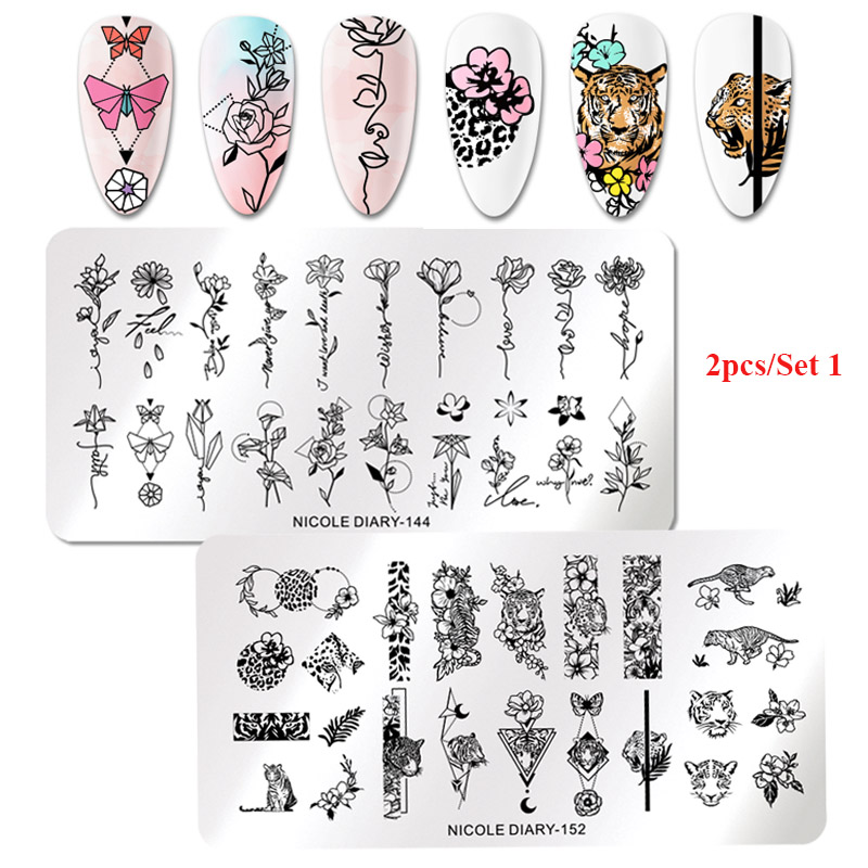 2Pcs NICOLE DIARY Nail Stamping Plates Spring Flower Rectangle Stainless Steel Nail Image Stencils Stamping Template Tool