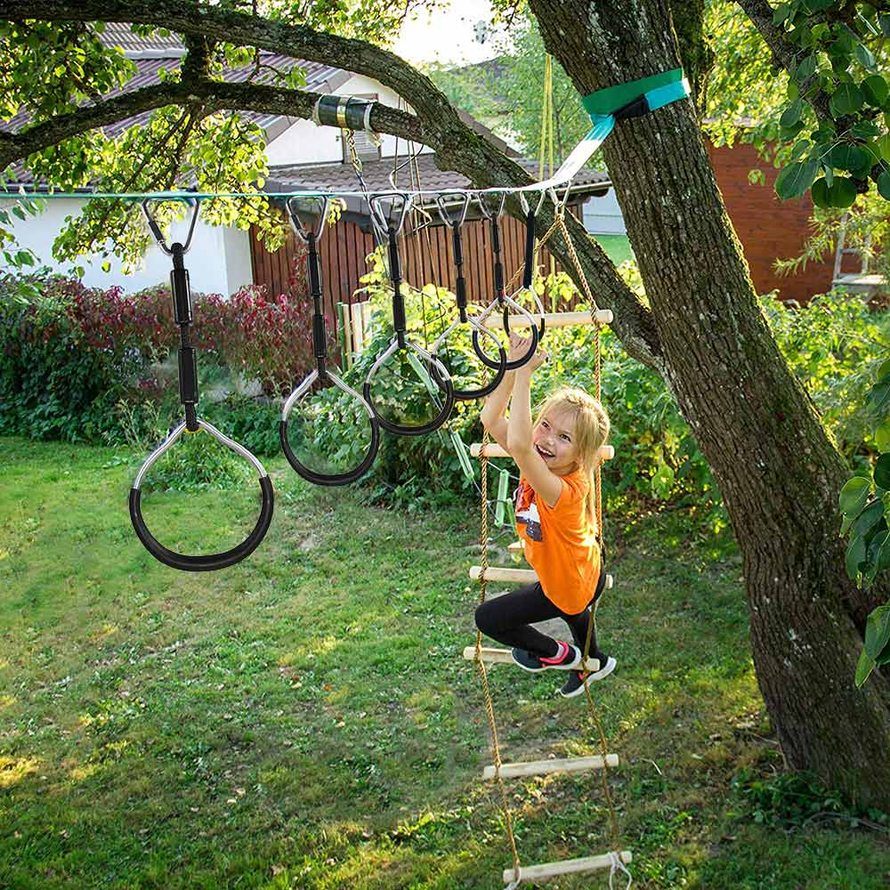 Outdoor Swing Rings Gymnastic Ring Climbing Hanging Rings Swings Accessories Children Climbing Equipment Garden Fitness Toys