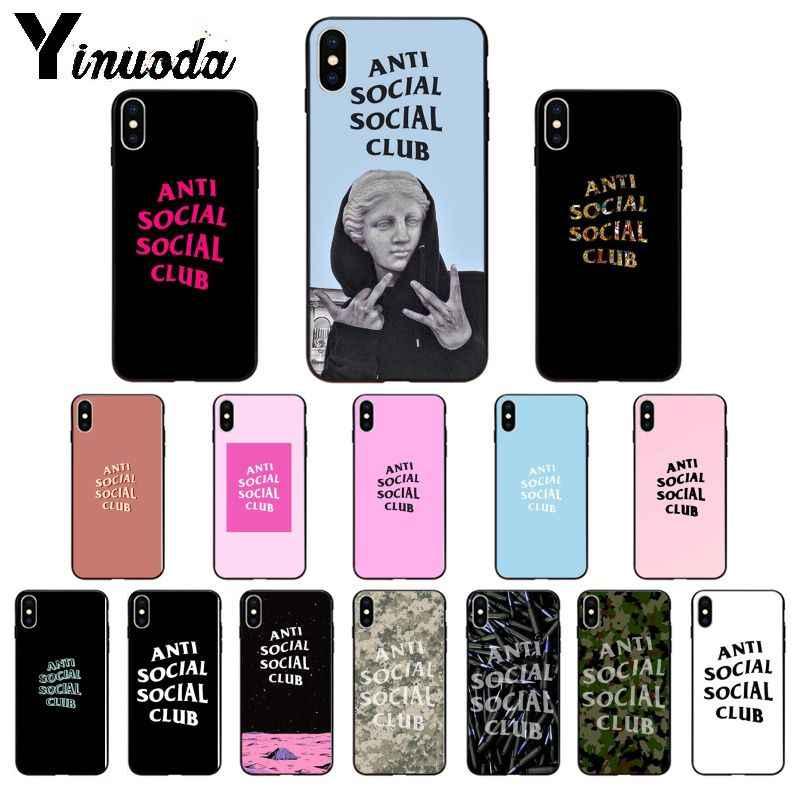 Yinuoda Anti Sozialen Social Club TPU Weichen schwarzen Fall Abdeckung für Apple iPhone 8 7 6 6S Plus X XS MAX 5 5S SE XR Mobile Fällen