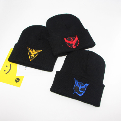 Anime Pokemon Go game Team Valor insignia Warm knitted hat Pokemon Logo Beanie hat Knit Cap Unisex Adjustable Cosplay accessorie image