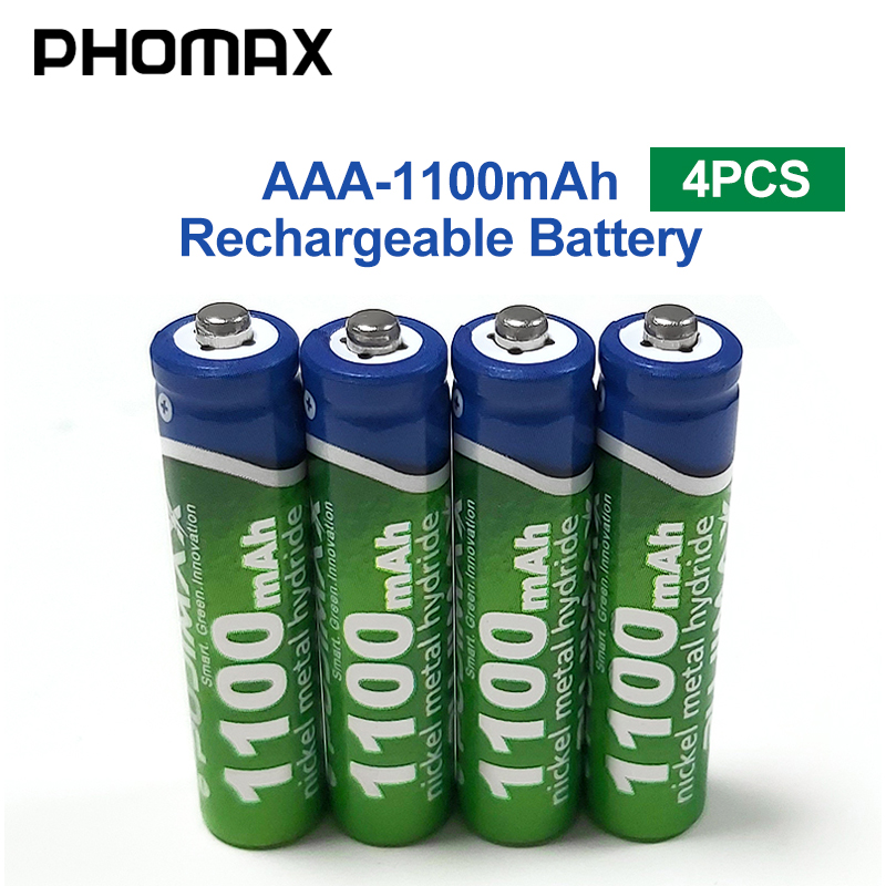PHOMAX 1100mAh AAA Battery 1.2V 4pcs/lot Rechargeable Battery Calculator Electronic Toy Remote Control Alarm Clock NiMH Baterie