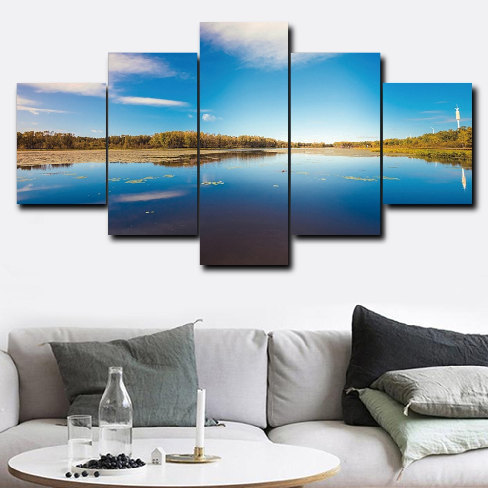 Laeacco Blue Water And Sky Canvas 5 Panel Classic Blue Heaven Wall Art Posters and Prints Home Living Room Bathroom Decoration(China)