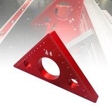 Треугольная линейка из алюминиевого сплава, Метрическая дюймовая деревообрабатывающая измерительная линейка, карманная треугольная линейка, мини треугольная линейка