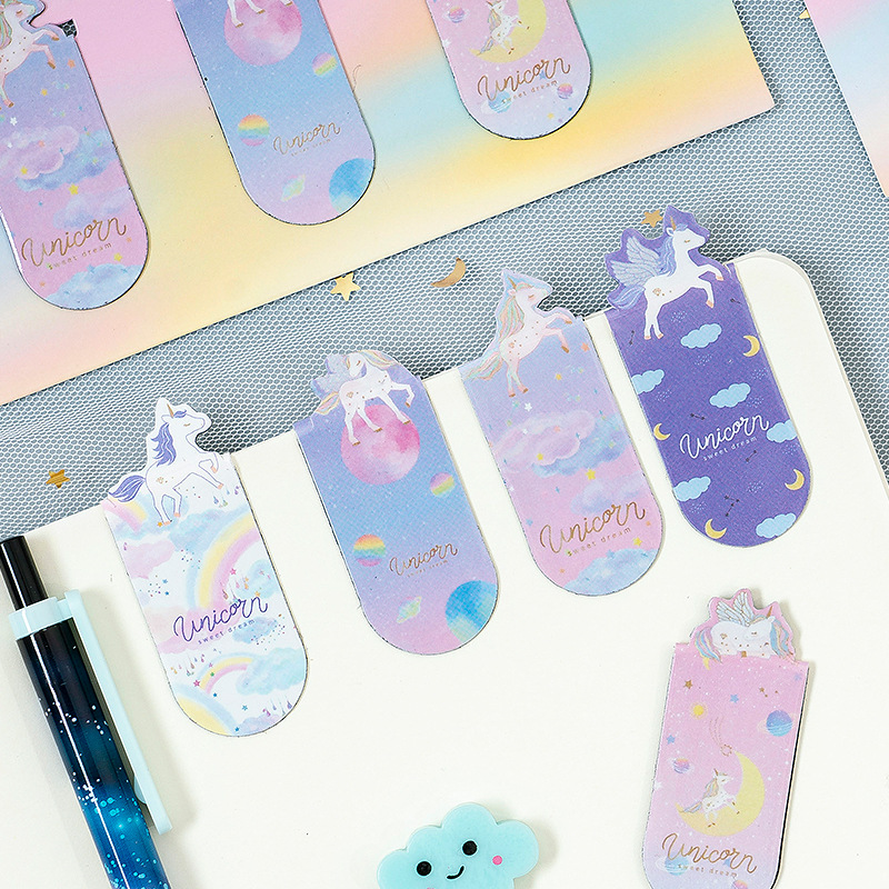 3 Pcs/pack Universal Unicorn Magnetic Bookmarks Books Marker Of Page Student Stationery School Office Supply