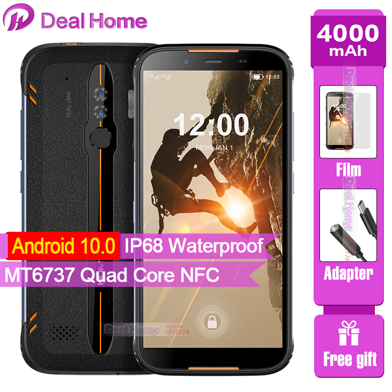 HOMTOM HT80 IP68 Waterproof Smartphone Android 10 5.5inch 18:9 MT6737 Quad Core NFC Wireless charge 4G LTE Mobile phone