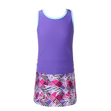 Kids Girls Tennis Suit Sleeveless Racer Back T-shirt Top and Elastic Waist Skirt with Built-in Shorts Set Tennis Golf Sportswear