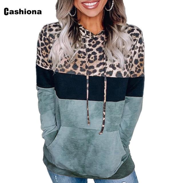 Cashiona 2020 Women Hoodie Sweatshirts Autumn Long Sleeve Patchwork Color Leopard Printed Tops Plus size Femme Casual Sweatshirt 4
