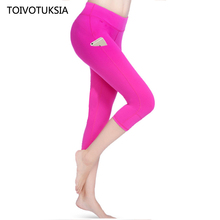 TOIVOTUKSIA Women Legging Solid Pink Black Capri Leggings Plus Size Sexy Fitness Sporting Pants with Pocket Mid-Calf Trouser