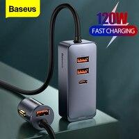 Baseus-cargador de teléfono para coche, dispositivo de carga rápida 4 en 1, de 120W, USB tipo C, encendedor de cigarrillos, de expansión, PD QC, para iPhone