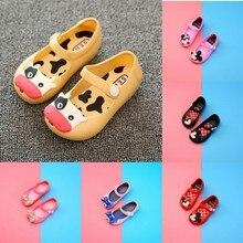 Обувь для маленьких девочек; летняя детская садовая обувь из ПВХ; прозрачная пляжная обувь с рисунком Минни; обувь принцессы для девочек