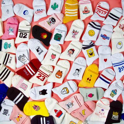 Women Daily Socks Harajuku Korea Japanese Cotton Kitten Flame Ulzzang Socks Men Chinese Cactus Gun Shark Alien Christmas Socks